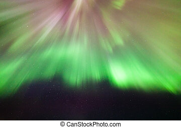 Northern lights corona above in the sky