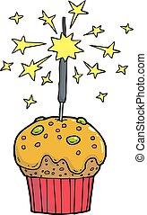 Cake bengal fire - Cartoon doodle cake with bengal fire...