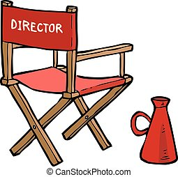 Cartoon director chair with a megaphone vector illustration