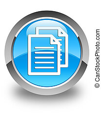 Documents icon glossy cyan blue round button