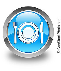 Food plate icon glossy cyan blue round button