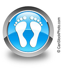 Footprint icon glossy cyan blue round button