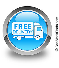 Free delivery truck icon glossy cyan blue round button