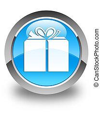 Gift box icon glossy cyan blue round button