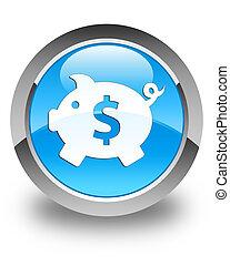 Piggy bank (dollar sign) icon glossy cyan blue round button