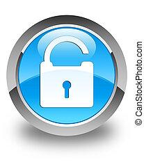 Unlock icon glossy cyan blue round button