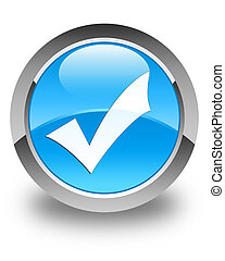 Validation icon glossy cyan blue round button
