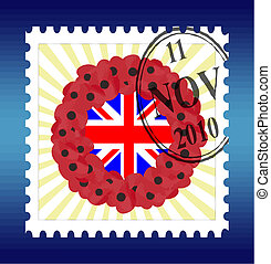 remembrance sunday stamp vector - stamp vector with...