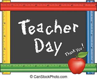 Teacher Day, Ruler Blackboard Apple