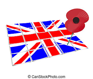 remembrance vector with union jack and single poppy