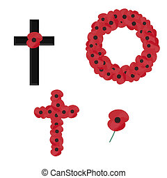remembrance set of vectors isolated on white background