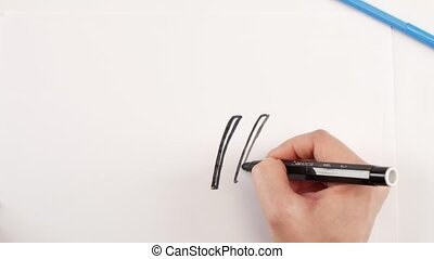 Woman drawing the table and chair using black felt-tip pen...