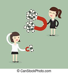 magnet - Business woman attracts money with a large magnet