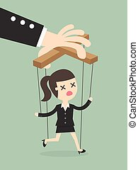 marionette - Business woman marionette on ropes controlled...