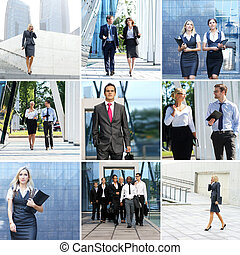 Collection of photos with many business people in formal...
