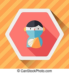 Female patient flat icon with long shadow