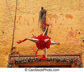 rojo, piñata, decoración, navidad, Jardin,...