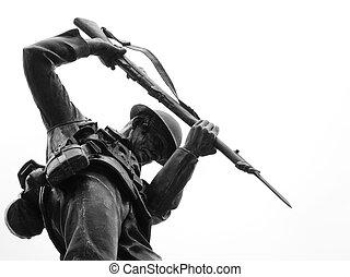 canadense, soldado, estátua