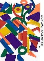 Plastic blocks geometrical figures