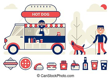Food truck concept - Food truck sell hot dog in the park...