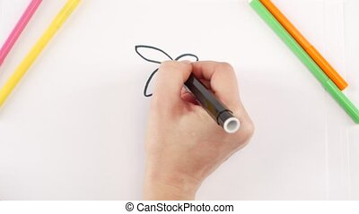 Woman drawing the bee using different felt-tip pen on white...
