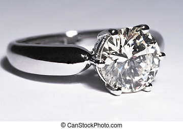 Diamond Ring - Close-up of a two carat diamond solitaire...