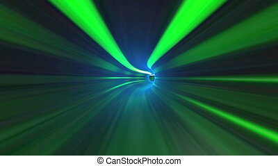 Abstract green tunnel background - Camera flies on a green...