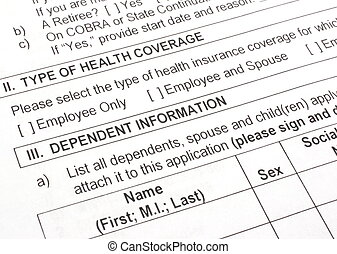 Health Insurance Application Close Up - Close-up photograph...