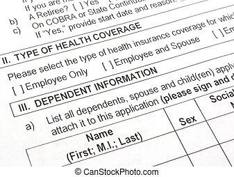 salud, seguro, aplicación, cierre, Arriba