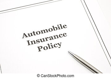 Automobile Insurance Policy with a Pen - An automobile...