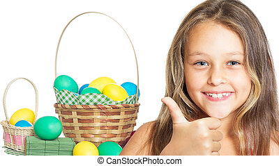 positive girl and a basket of Easter eggs
