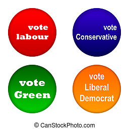 British party political badges - Set of British party...