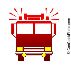 Fire engine or truck - Silhouette of fire engine or truck...