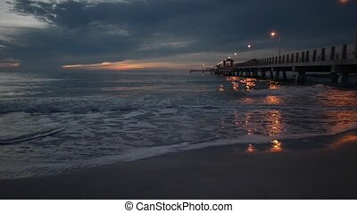Fort De Soto Gulf Pier after Sunset Tierra Verde, Florida -...
