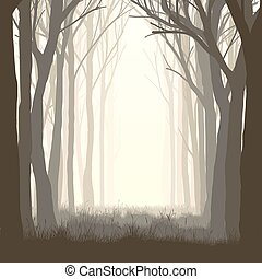 Illustration glade in forest - Vector illustration of trees...