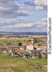 View to church in Bavaria - View to church of Eschenlohe in...