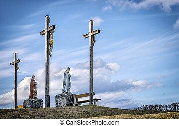 Jesus cross in Bavaria - Jesus cross on a hill near...