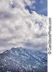 Mountains with clouds in Bavarian Alps Germany and free...