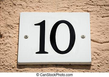 Number ten door plate - Enameled door number plate on...