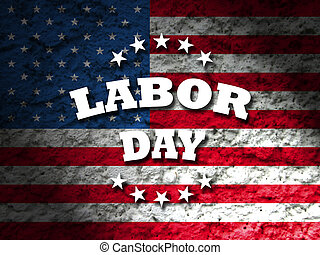 Labor Day usa card with american flag grunge style...