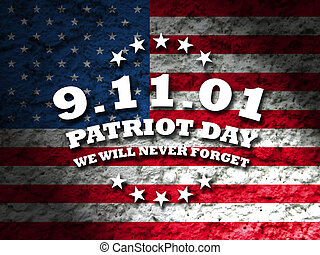 America Patriot Day - september 11 2001 card with american...