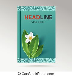 Book cover with flowering jasmine - Modern Design a book...