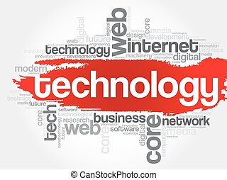 Technology word cloud, business concept