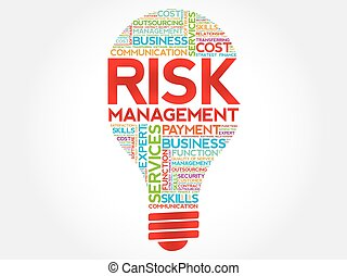Risk Management bulb word cloud, business concept
