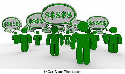 Dollar Signs Symbols Speech Bubbles New Customers Referrals Word of Mouth