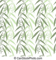 Seamless pattern branches of eucalyptus Vector illustration...