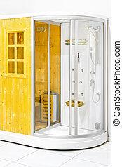 Sauna cabin - Small wooden home sauna with shower cabin
