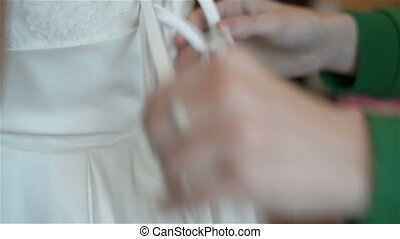 lace wedding dress - Bride preparing for the wedding