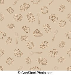 Seamless Pattern with Sweets and Desserts, Vector Illustration