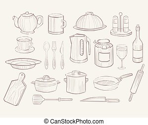 Kitchen Utensils hand drawn style, Vector Collection